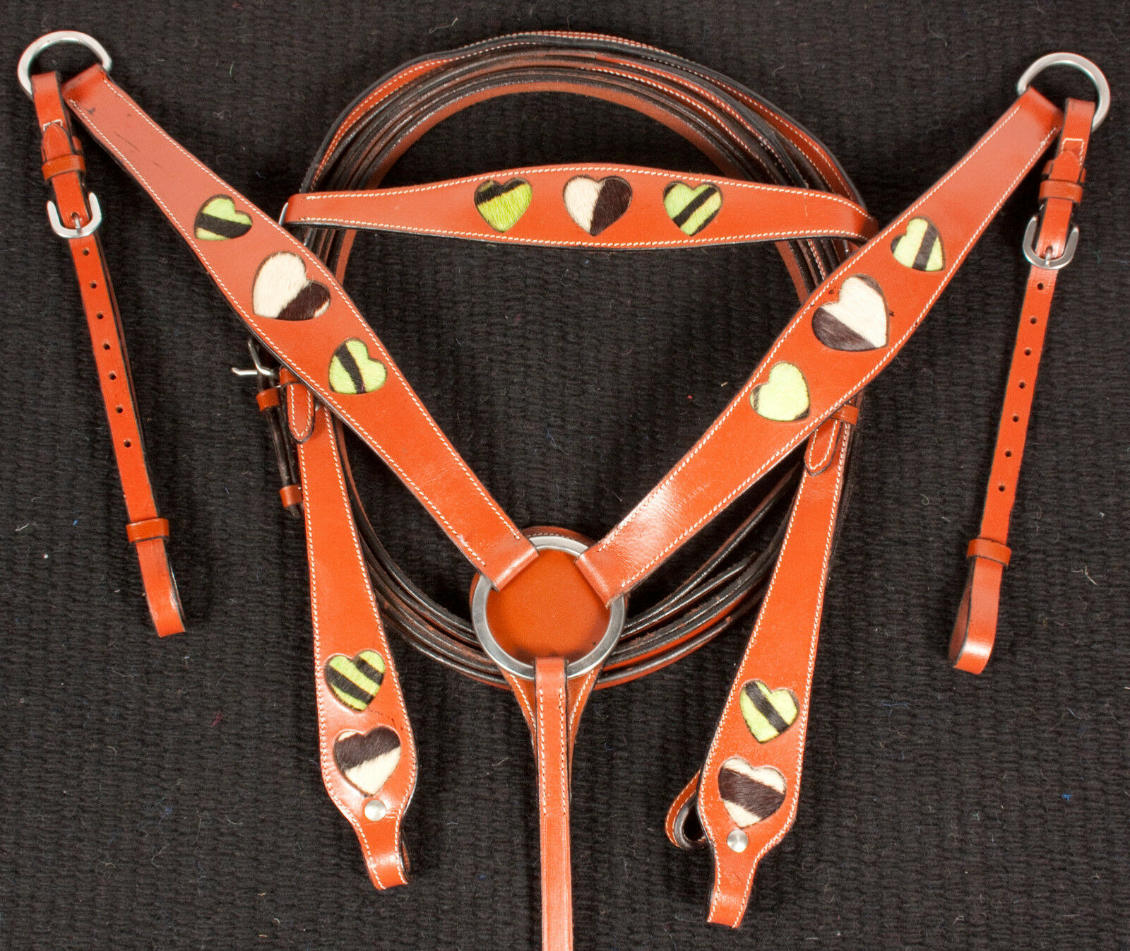 GREEN ZEBRA HEAR HEADSTALL  BREAST COLLAR REINS LEATHER WESTERN HORSE TAC  offering 100%