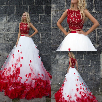 New Two Pieces Plus Size White Red Tulle Wedding Dresses Bridal Ball Gown  Custom | eBay