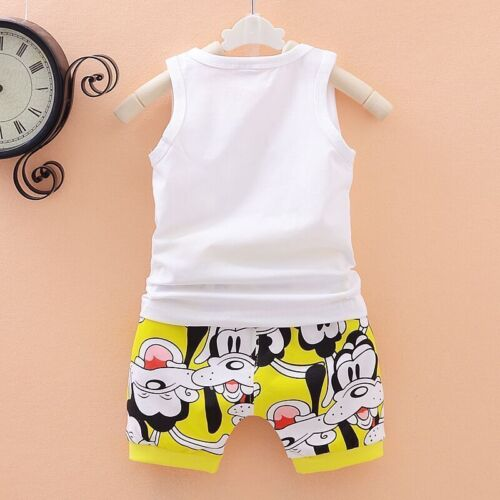 2pcs Kids Baby Boys//Girls Mickey Mouse Sleeveless Tops+Shorts Summer Clothes Set