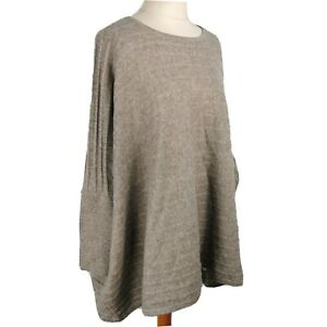 Kenar-12-14-16-Grey-Tunic-Jumper-Ribbed-Pure-Cashmere-Winter-Oversize-Slouchy