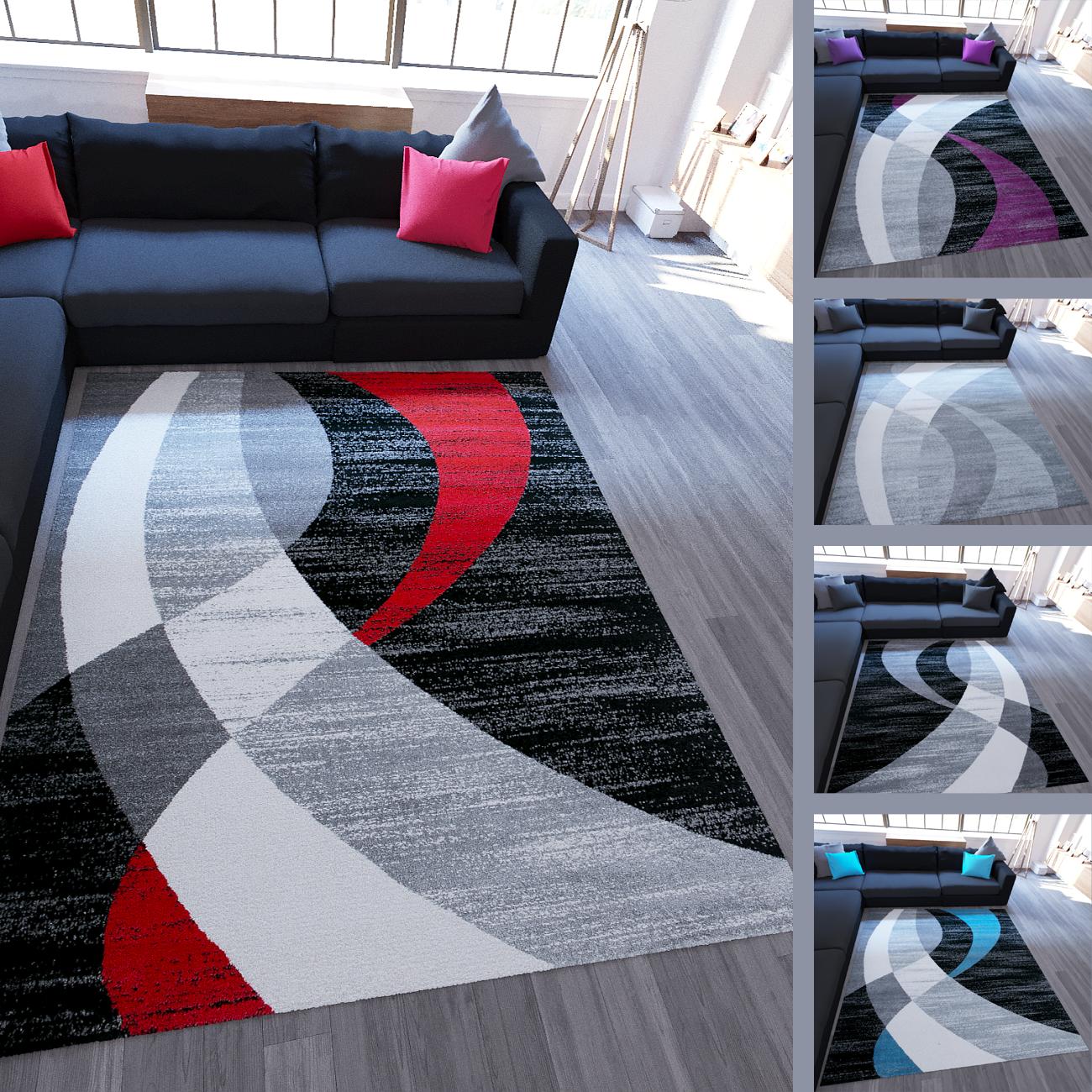 Breve Flor Tappeto Modern Design Scelta di Coloreee Nero Grigio Turchese Lilla strisce pattern