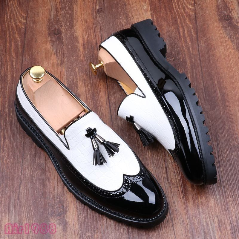 Classic uomo Wingtip Tassels Leather Dress Shoes Splice Oxfords Shoe Brogues New Scarpe classiche da uomo