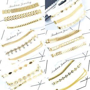 New-3-Piece-Gold-Colour-Bracelet-Set-Fashion-Boho-Jewellery-Link-Fashion-Design