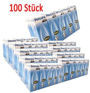 100-x-PHILIPS-B35-60w-E14-Bombilla-bujias-de-incandescencia-670LM-1000h-CLARO