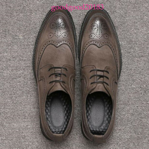 Fashion Men/'s Genuine Leather Shoes Business Wing Tip Dress Shoes Lace Up Oxford