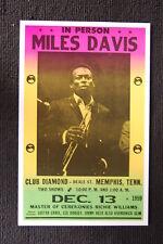 Miles Davis 1959 Tour Poster Club Diamond Memphis Tenn