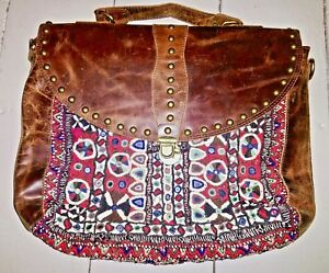 Bag Handmade Leather Boho Kilim Tapestry Laptop Ethnic Ricamato Bnwt Rare qCt55Sw7U