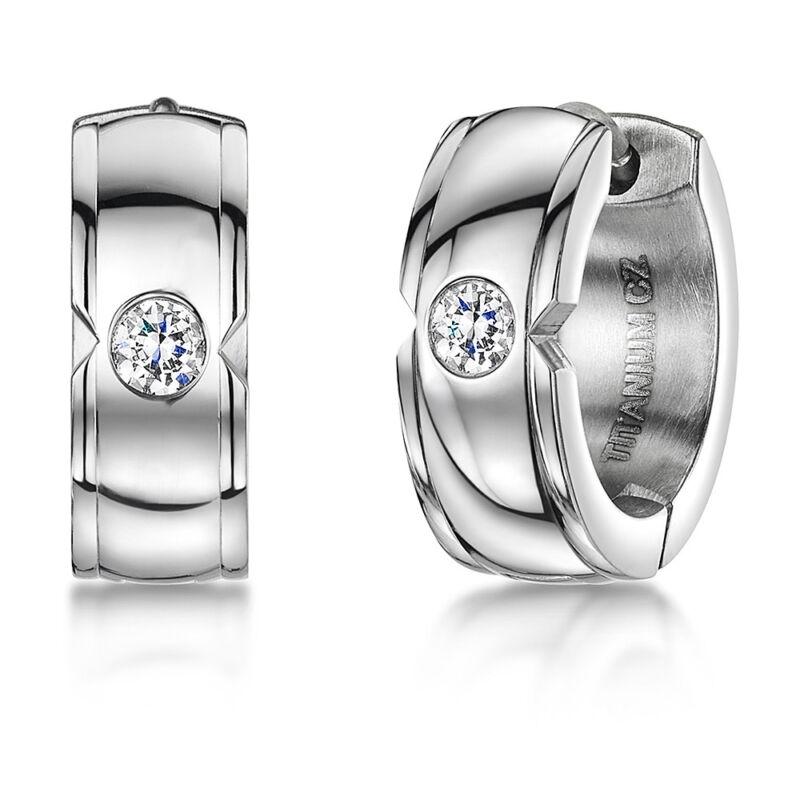 Titanium Hoop Earrings Hinged Hoop Round Clear Cz Stone Silver Earrings
