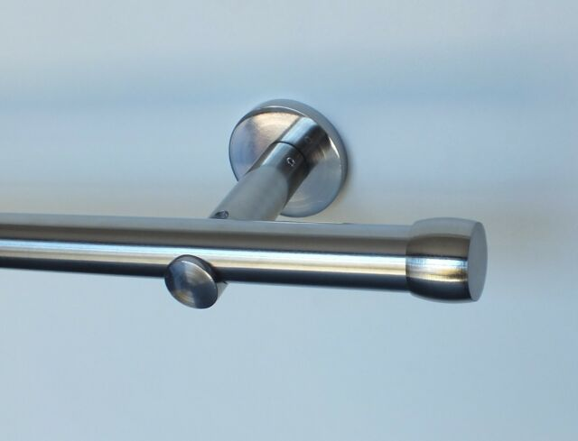 Vorhangstange Metall 20 mm - Edelstahl Look 100 bis 600 cm