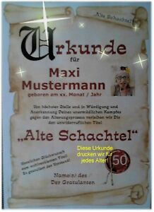 Urkunde-Club-alten-Schachteln-18-20-30-40-50-60-70-Geburtstag-Deko-Geschenk-D1