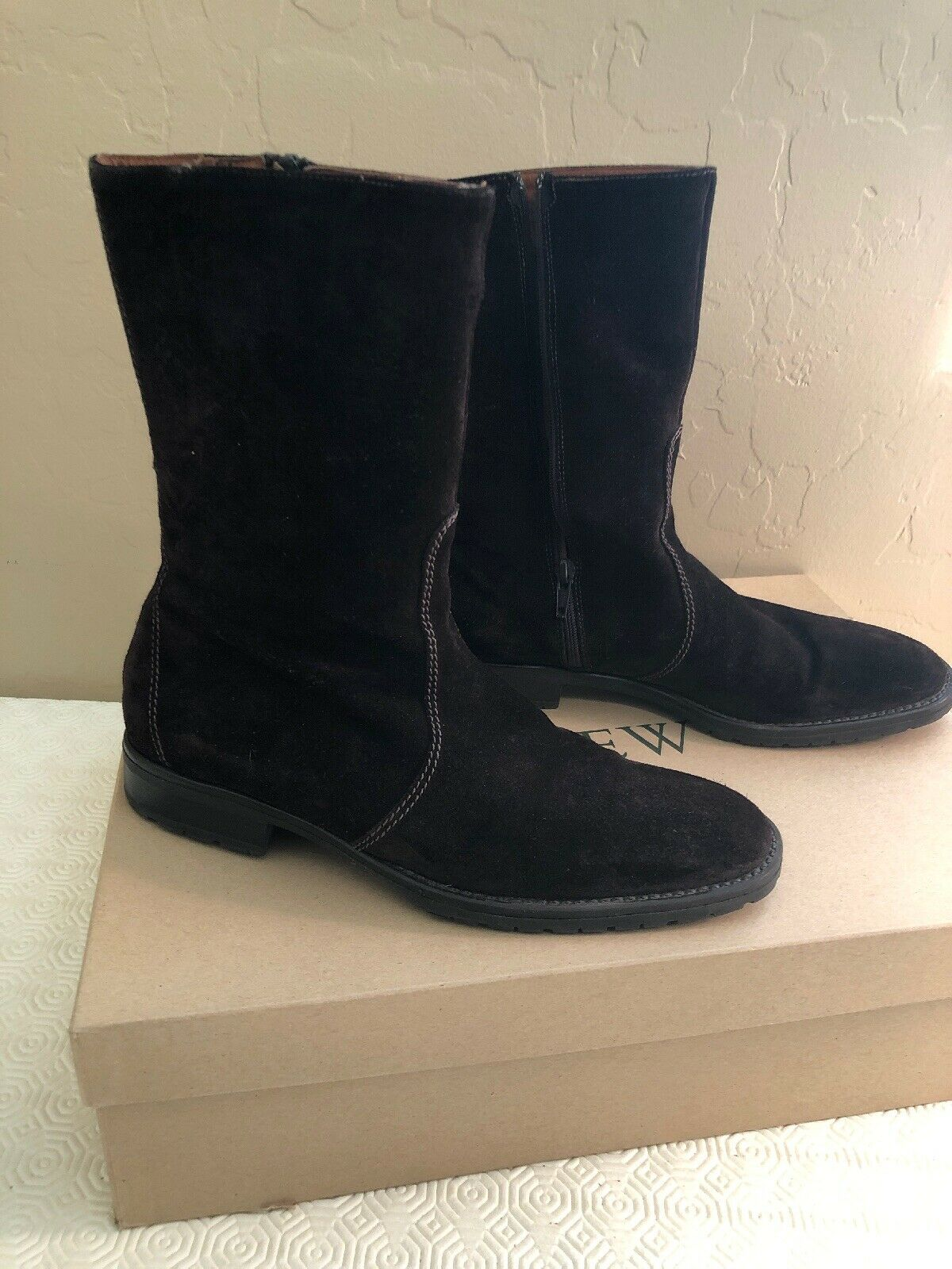 WOMENS J. CREW BROWN SUEDE PULL ON MID CALF WINTER BOOTS SZ 8.5 NEW