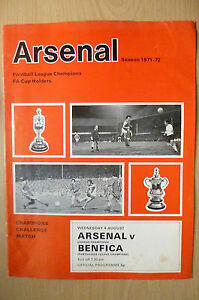 Champions Challenge Match 1971/72- ARSENAL v BENFICA