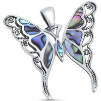 Abalone Butterfly .925 Sterling Silver Pendant