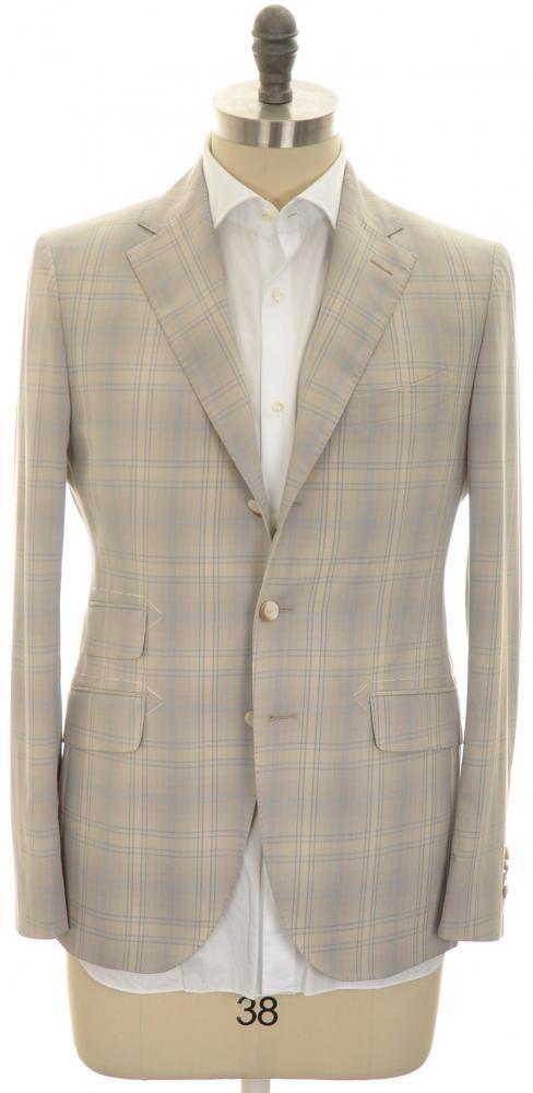 Boglioli 'York' 3B Sport Coat Fine Cotton 38 48 Braun Blau Plaid 24SC0240 1295