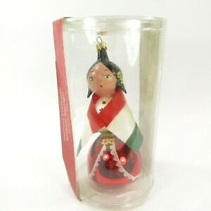 Pier-1-Christmas-Ornament-Italy-Lady-woman-Flag-Mouth-blown-Hand-painted-signed