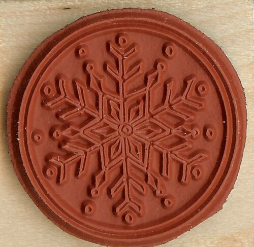 WINTER SNOWFLAKE CIRCLE Wood Mounted Rubber Stamp NORTHWOODS C10168 New