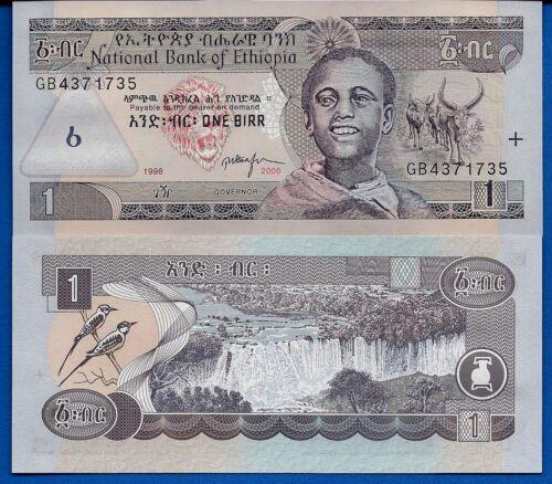 Ethiopia P-46 1 Birr Year 2006 Water Falls Uncirculated Banknote