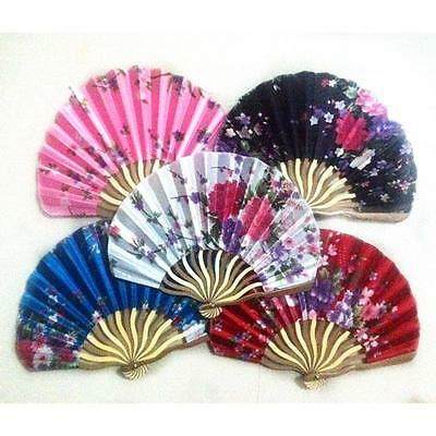 Chic Retro Flower Printing Bamboo Silk Fabric Hand Fan Cool Summer Folding Fan