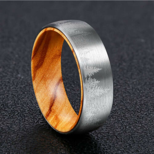 8mm Tungsten Ring Lased Forest Landscape Brushed Men/'s Women/'s Wedding Band Ring