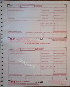 2018 IRS Tax Form W-2 Wage Stmts, CARBONLESS, single sheet ...