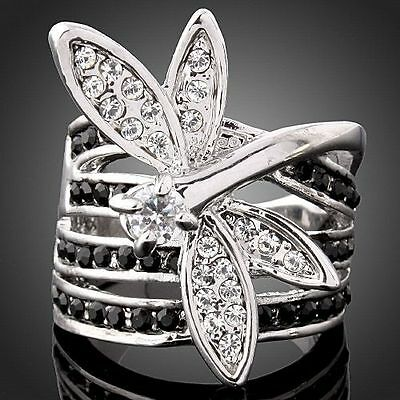 Women Fashion Dragonfly individuality 4 Row Crystals Engagement Wedding Ring