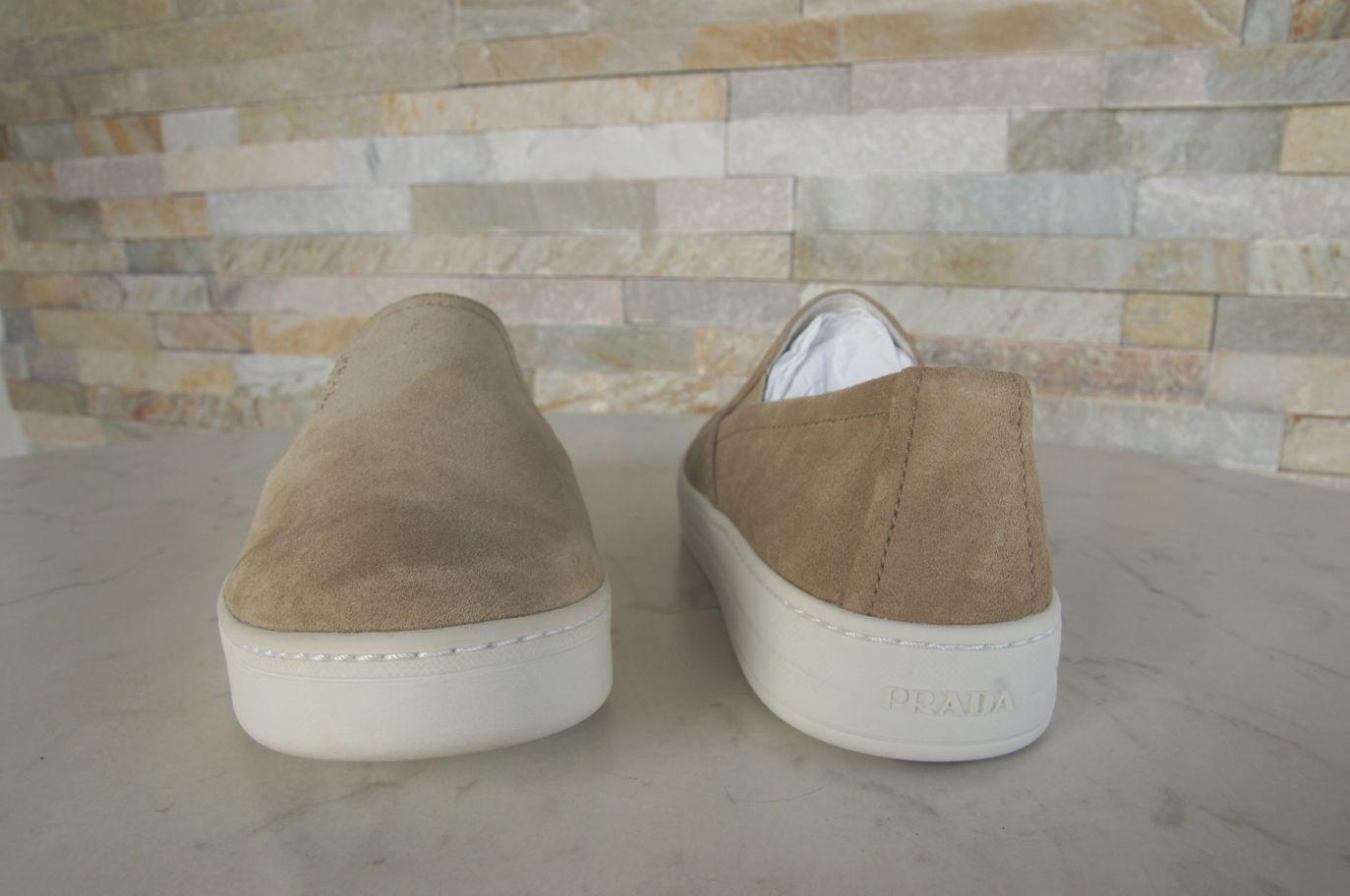 PRADA PRADA PRADA Gr 36 Slipper Mokassins Slip-On Halbschuhe Schuhe deserto sand NEU 14a814