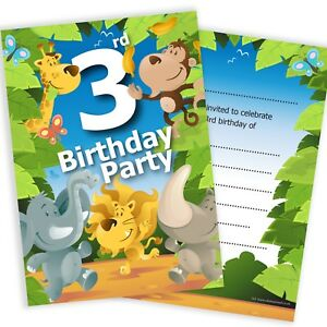 Image Is Loading 3rd Birthday Party Jungle Invitations Ready To Write