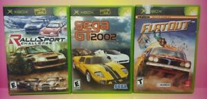 3 Game Racing Lot Original Microsoft XBOX Flatout Sega GT Ralli Sport Mint Discs