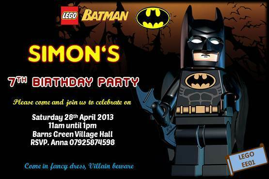 10 X Personalised Lego Batman Birthday Invitation Invites With Envelopes CC For Sale Online