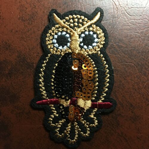 **NEW** OWL Embroidered Bird Patch Badge Copper & Black Sequins Iron-On Sew-On