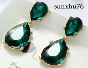 Women-Fashion-Green-Crystal-Rhinestone-Ear-Drop-Dangle-Stud-long-Earrings-New
