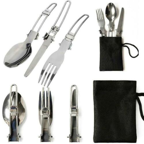 3in1 Outdoor BBQ Travel Camping Folding  Fork Spoon Utensils Pocket Set Q