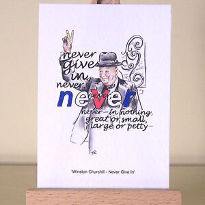Winston-Churchill-ACEO-Card-fine-art-print-portrait-and-Never-Give-In-quote