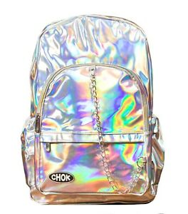 CHOK-STARLIGHT-HOLO-SILVER-REFLECTIVE-BACKPACK-RUCKSACK-School-College-Rave-Bag