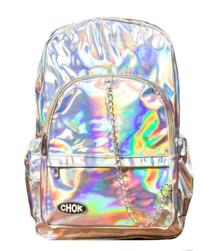 CHOK STARLIGHT HOLO SILVER REFLECTIVE BACKPACK RUCKSACK School College Rave Bag
