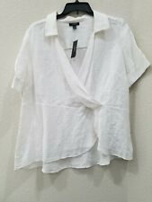 White, 2XL Alfani Striped Tiered-Sleeve Blouse