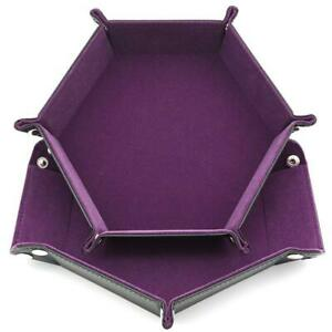 Dice-Board-Games-Hexagon-PU-Leather-Collapsible-Rolling-Tray-LJ