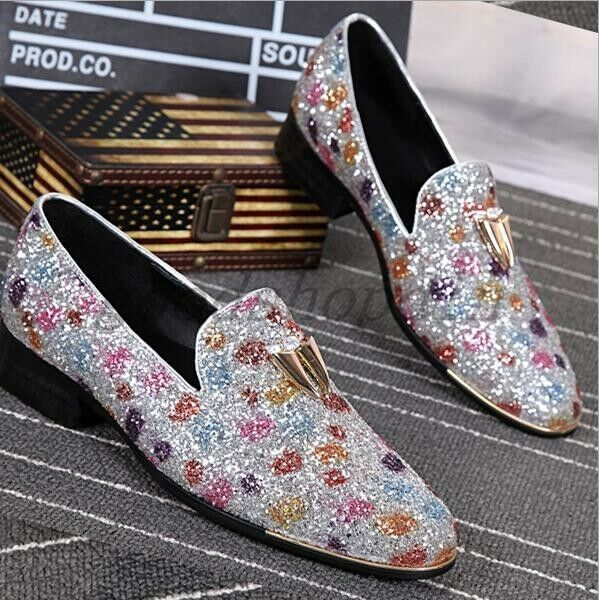 Fahsion Mens Rhinestone Blingbling Loafers Slip On CluBwear Cool shoes 5-10.5 SZ
