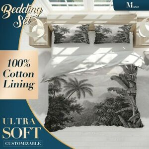Etched-Trees-Forest-Jungle-Green-Quilt-Cover-King-Bed-Single-Double-Queen-Size