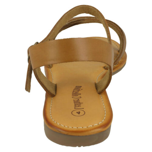 LADIES LEATHER COLLECTION OPEN TOE CASUAL STRAPPY FLAT SUMMER SANDALS F0R0196