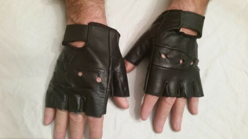 Tactical Black Leather Gloves Airsoft Paintball Shooting Fingerless Medium