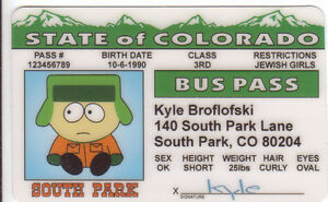 South-Park-Cartoon-KYLE-Broflofski-plastic-collector-ID-card-Drivers-License