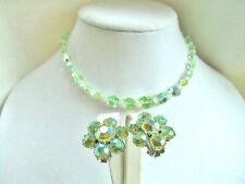 Vintage Swarovski Crystal Peridot AB 'Nailhead' Button Bead Necklace & Earrings