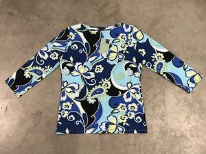 Melly-M-Womens-Fancy-Tech-LS-Golf-Shirt-T-Shirt-Lily-Paisley-Floral-USA-NWT