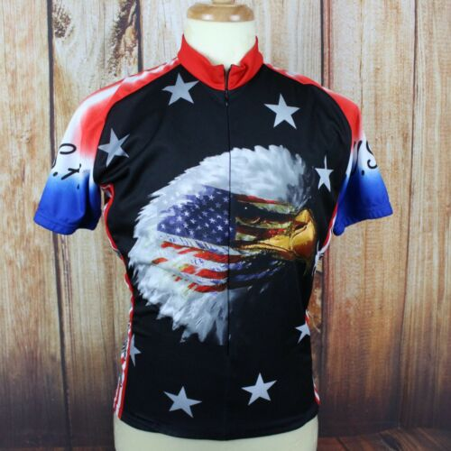 Homme Maillot de cyclisme Grand S/S USA drapeau aigle rouge blanc bleu World jerseys 4th