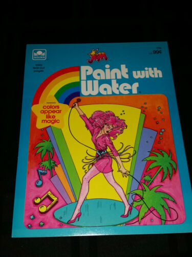 unused 1986 jem paint with water coloring book by golden nm