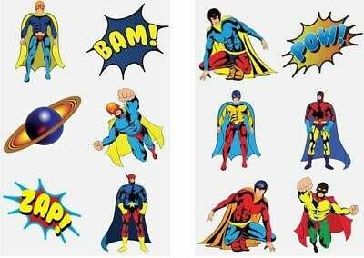 36 Childrens Super Hero Temporary Tattoos Kids Loot Party Bag Fillers Boys Girls