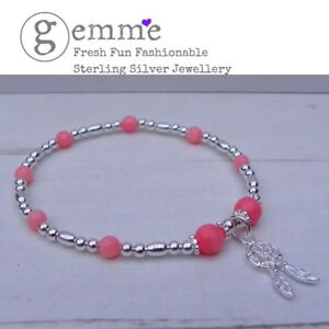 Sterling-Silver-amp-Coral-Beaded-Stretch-Bracelet-with-Dainty-Dreamcatcher-Charm