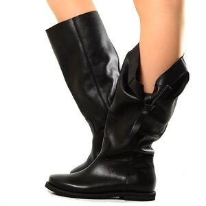 b8a9e009984 Bottes Femmes Cuir Souple Boots Chaussures Bottines Noir Chunky ...