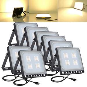 8x 20w Led Flood Light Fixtures Us Plug Outdoor Lighting Warm White